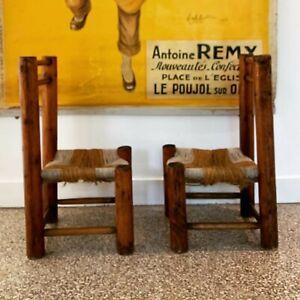 paire chaise art populaire savoie paillé rondin dlg charles dudouyt / perriand