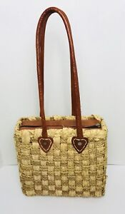 Leather and Straw Jute Woven Tote Shoulder Bag Handmade NWOT