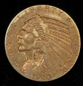 1910 $5 Indian Head Gold Coin.! Uncertified.! NR.!