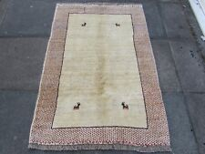 Old Traditional Hand Made Persian Oriental  Wool Cream Red Gabbeh Rug 148x103cm