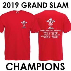 Mens Boys Wales Grand Slam 2019 Champions Rugby Cymru Welsh Six Nations T-Shirt