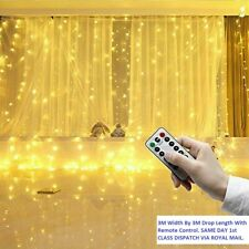 3x3M LED Curtain Fairy Lights String Hanging Wall Light Party Christmas + Remote