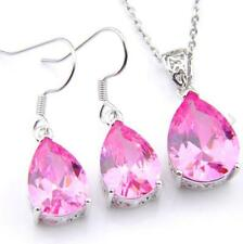 Engagement Jewelry Set 2 Pcs 1 Lot Sweet Pink Topaz Silver Pendant Hook Earrings