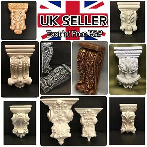 Plaster Corbels X2  Traditional Scroll Leaf Decorative Rococo Style Height 110mm