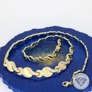 Wert 1.200,- Wundervolle Damen Collier Kette 585 / 14 Karat Gold Bicolor xxyy