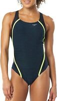 Speedo Women Swimwear One Piece  Quantum Splice Swimsuit Size 12 Blue $ 79