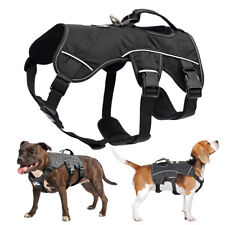 Dog Vest Harness Adjustable Reflective Breathable with Easy Control Handle Black