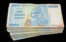 100 x Zimbabwe 1 Million Dollar banknotes-AA/AB 2008/low grade/very used bundle