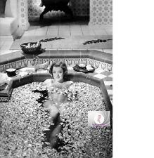 MYRNA LOY NUDE BATH LAB REPRODUCTION 5X7 THE BARBARIAN BLK & WHT ROSE PETALS