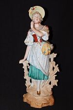 "Antique 1901 German Dressed Lady Bisque Figurine Statue Germany 15 3/4"" Tall"