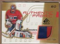 JOSE THEODORE 2001/02 SP Game Used Authentic Fabric 2tone GAME JERSEY #/300 RARE