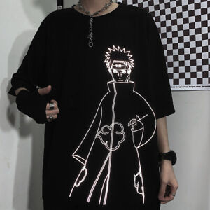 Japanese fashion Naruto Pain anime reflective print tee streetwear (ST104)