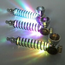 Weed Smoking Pipe Colorful LED Light Metal Herb Portable Holder Pattern Creative