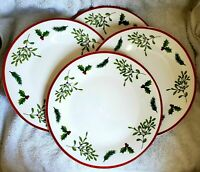 4 Royal Norfolk Christmas Holly Berry Dinner Plates Set Of Four