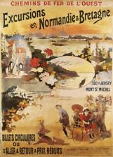 EXCURSIONS EN NORMANDIE AND BRETAGNE, FRANCE French Travel Poster 250gsm