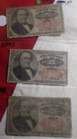 LOT OF 3 FR 1308 25 Cent Fractional Currency Note 5th Issue 25c Circulated!!!