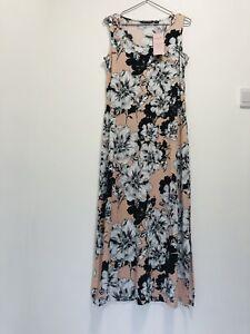 Nina Leonard Woman's Pink Blush Floral Jersey Maxi Dress Size M