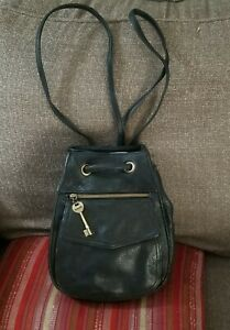 Fossil Backpack,  Vintage,  Black Leather,  Small