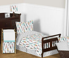 Turquoise Blue Pink Grey And White Feathers Toddler Girls Comforter Bedding Set