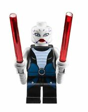 Lego Star Wars - Minifigure - Asajj Ventress -7957 - two / 2 Red Lightsabers