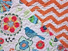 CYNTHIA ROWLEY Whimsical Birds 2pc TWIN Quilt SET Blue Orange Teal Green FLORAL