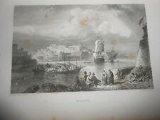 1863 STEEL ENGRAVING VIEW OF MALTA MALTE ENGRAVER ROUARGUE FRERES