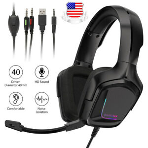 Gaming Headset Mic LED 3.5mm Headphones Stereo Surround PS4 Xbox One Laptop RGB