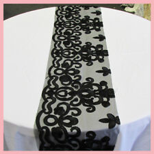 """Table Runner Guipure 2197 1 Piece 13"""" X 126"""" Wedding Decorations Black"""