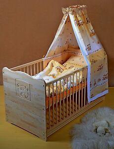 Babybett Gitterbett Komplett Set Kinderbett UMBAUBAR 5 Farben120cm Massiv Gravur