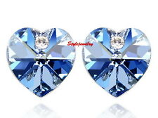 Silver Blue Love Heart Bridal Stud Earring Made With Swarovski Crystal XE63