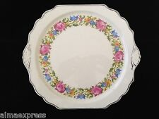 Harker Pottery Petit Point Needle Cross Stitch Roses Square Cake Plate #7961