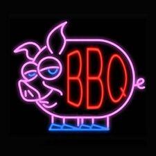 """Bbq Pig Open Neon Lamp Sign 17""""x14"""" Bar Light Garage Cave Glass Artwork"""