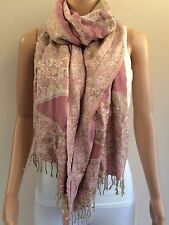 Pink Khaki Green Floral Tapestry Style Large Scarf (3BX)