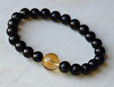 "Onyx Citrine Gemstone Black Yellow Round Beaded Stretch Adjustable Bracelet 7.5"""