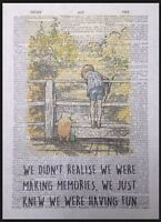 Winnie The Pooh Memories Quote Print Vintage Dictionary Page Picture Wall Art