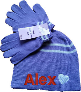 personalised embroidered kids children hat beanie and gloves gift set any name
