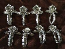 Vintage Silver Tone Metal Rose Design Napkin Ring Holders Set of 8 Shabby Chic
