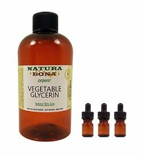 Organic Vegetable Glycerin Oil. Food-grade USP Kosher 8oz. 3, 5ml glass droppers