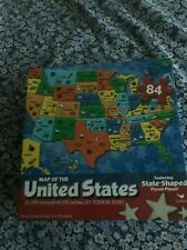 84 Piece Map of the United States with State Shaped Puzzle Pieces