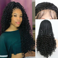 Black Braids Lace Front Wigs for Black Women Curly End Hand Made Box Braided Wig