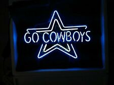"Dallas Cowboys Go Cowboys 17""x14"" Neon Sign Lamp Light Glass Bar With Dimmer"