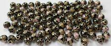 100 Vintage Chinese Cloisonne Black w/Pink Round Porcelain Enamel 6mm Beads