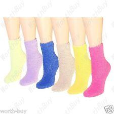 Non Skid Lot 6 Pairs Womens Soft Cozy Fuzzy Winter Warm Slipper Socks Size 9-11