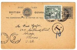 British Guiana POSTAL CARD-HG:10(late use)uprated SG#288-GEORGETOWN 19/AP