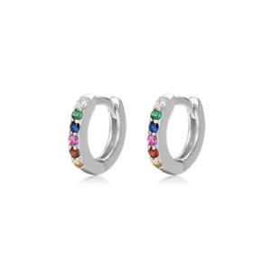 Sterling Silver Tiny Rainbow Paved CZ Huggie Hoop Cuff Eternity Earrings 6.5mm