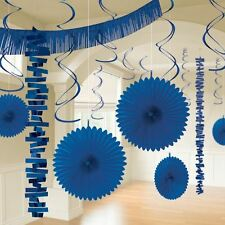 18pk Bright Royal Blue Paper Foil Room Decorating Kit Birthday Wedding Party