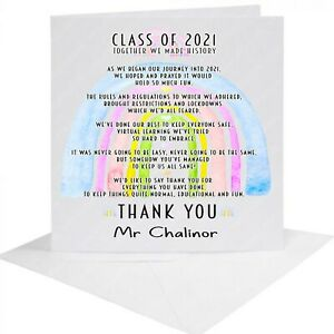 Personalised Teacher's Card - Class of 2021 -  Thank You - Leaving -  any NAME
