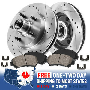 Front Drill And Slot Brake Rotors & Ceramic Pads For 00 - 04 Ford F150 2WD 5Lug