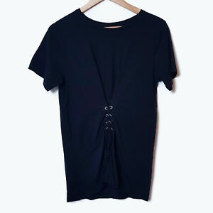 Seed Heritage Black Lace Up Front Short Sleve Top T-Shirt Tee Cotton Size S