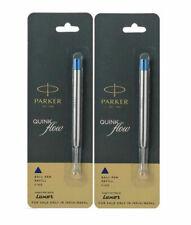 2X Parker Quink Flow Ball Point Pen BP Refill Refills Fine Nib Blue Ink